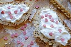 Walentynka dnia śniadania krajobrazu odgórna uprawa Fotografia Stock