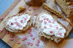 Walentynka dnia śniadania krajobrazu odgórny szeroki Fotografia Stock