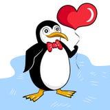 Walentynka dnia pingwin na romantycznej dacie ilustracja wektor