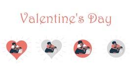 Walentynka dnia pojęcie para na sercach, wektorowe grafika, ilustracja wizerunków vectorielles - wizerunku vec - wizerunków vecto ilustracji