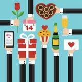 Walentynka dnia pojęcia nowożytny płaski projekt Zdjęcia Stock