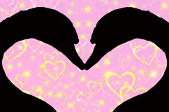 Walentynka dnia pojęcie, sylwetka dwa łabędziej głowy tworzy kierowego kształt wpólnie, na różowym tle z złotym ilustracja wektor