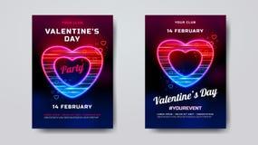 Walentynka dnia przyjęcia plakata mockup Wakacyjny sztandar z neonowym sercem textured z ruch cząsteczkami Romantyczny przyjęcie Fotografia Stock