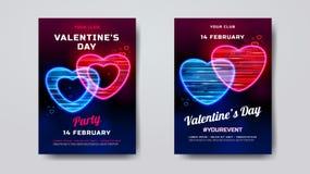 Walentynka dnia przyjęcia plakata mockup Wakacyjny sztandar z neonowym sercem textured z ruch cząsteczkami Romantyczny przyjęcie royalty ilustracja