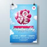 Walentynka dnia przyjęcia ulotki projekt z miłości typografii listem i serce balonem na Obłocznym nieba tle Wektorowy wakacje Obrazy Royalty Free