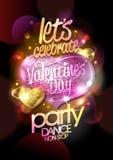 Walentynka dnia przyjęcie, tanczy non przerwę, jaskrawy projekta pojęcie z różowym mozaiki sercem ilustracja wektor