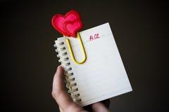 Walentynka dnia pusta strona w organzer zdjęcia stock