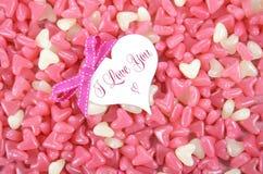 Walentynka dnia różowy i biały kierowy kształt galarety cukierek Zdjęcia Stock