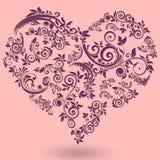 Walentynka dnia rocznika pocztówka z sercem i kwiatami Ilustracji