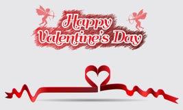 Walentynka dnia rocznika tła tasiemkowy serce i aniołowie z strzała Zdjęcia Stock