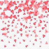 Walentynka dnia romantyczny tło czerwony serce płatków spadać Realistyczny kwiatu płatek w kształcie kierowi confetti Miłość Zdjęcie Royalty Free
