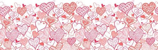 Walentynka dnia serc Horyzontalny Bezszwowy wzór royalty ilustracja