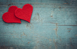 Walentynka dnia serca na drewnianym tle zdjęcia stock