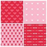 Walentynka dnia serca 4 wzory Zdjęcie Stock