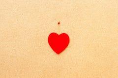 Walentynka dnia serce na drewnianym tle Zdjęcia Royalty Free