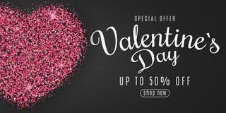 Walentynka dnia sieci sztandar dla sprzedaży Serce menchie połyskuje z kaligrafią Specjalna oferta duży rabaty Genialny pył Vecto ilustracji