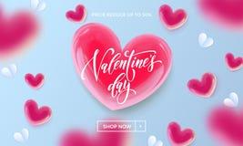 Walentynka dnia sprzedaży plakat lub sztandar valentine czerwony serce na błękita światła wzoru tle Wektorowy walentynka dnia wak Zdjęcie Stock