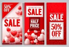 Walentynka dnia sprzedaży plakata setu wektorowi projekty z czerwonymi sercami kształtują elementy Zdjęcie Stock