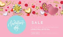 Walentynka dnia sprzedaży sieci sztandaru tło różowi serca, złociści błyskotliwość confetti i kwiatu wzór Wektorowa walentynka ro Zdjęcia Royalty Free