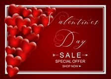 Walentynka dnia sprzedaży tło z sercem Ulotki, zaproszenie, plakaty, broszurka, sztandaru szablon wektor obrazy stock