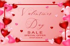 Walentynka dnia sprzedaży tło z sercem Ulotki, zaproszenie, plakaty, broszurka, sztandaru szablon wektor obraz royalty free