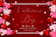 Walentynka dnia sprzedaży tło z sercem Ulotki, zaproszenie, plakaty, broszurka, sztandaru szablon wektor zdjęcie royalty free