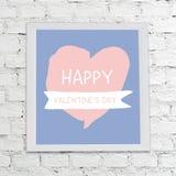 Walentynka dnia sztandaru obwieszenie na biel ściany tle Obrazy Stock