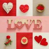 Walentynka dnia tła kolaż Serca, prezenta pudełko, gniazdeczko, czerwieni róża i listy miłośni, Fotografia Stock