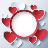 Walentynka dnia tło, rama z 3d sercami Fotografia Royalty Free