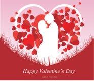 Walentynka dnia tło z całowanie pary sylwetką, serce kształtował drzewa Zdjęcie Royalty Free