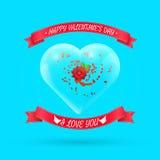Walentynka dnia tło z kwiatem wśród szkła Obraz Royalty Free