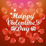 Walentynka dnia tło z tekstem róży płatki Fotografia Royalty Free