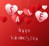 Walentynka dnia tło z wiszącą kierową sprzedażą szybko się zwiększać royalty ilustracja