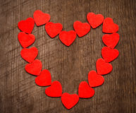 Walentynka dnia tło, rama od serc na drewnianym backg Obrazy Royalty Free