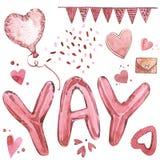 Walentynka dnia teksta balon Akwarela ustawiająca elementy dla walentynki ` s dnia Scrapbook projekta elementy typografia Fotografia Stock
