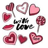 Walentynka dnia teksta miłość Wektorowa akwarela ustawiająca elementy dla walentynki ` s dnia Scrapbook projekta elementy typogra ilustracja wektor