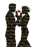 Walentynka dnia tło z pary sylwetką dzieli szkło Zdjęcie Stock