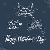 Walentynka dnia typografii i ilustraci elementy Fotografia Stock