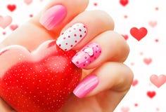 Walentynka dnia wakacyjny manicure Zdjęcia Royalty Free