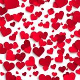 Walentynka dnia wektorowy tło, czerwieni papierowi serca na białym tle Obrazy Stock