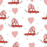 Walentynka dnia wektoru bezszwowy wzór z samochodem dostarcza serce royalty ilustracja
