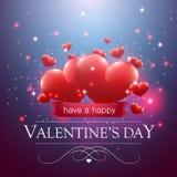 Walentynka dnia wiadomość z sercami Obrazy Stock