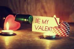 Walentynka dnia świeczek wino Obrazy Royalty Free