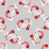 Walentynka druk bezszwowego deseniowego grunge kształta Kierowa rama z szczotkarską obrazu i teksta miłością ilustracja wektor