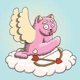 Walentynka dzień, amorka Różowy kot Dźwignie przerwę na chmurze z amorka łękiem i strzała Zdjęcie Stock