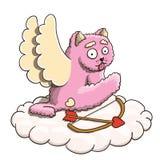 Walentynka dzień, amorka Różowy kot Dźwignie przerwę na chmurze z amorek strzała i łęk na Białym tle Fotografia Royalty Free