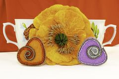 Walentynka dzień, handmade produkty od filc obraz stock