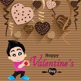 Walentynka dzień i chłopak miłość Wyznajemy na Kierowym czekolady przyjęcia tle Wektor Partyjna Kierowa czekolada i pełny serce n Obraz Stock