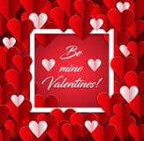 Walentynka dzień, rocznika tło z papierowymi sercami Zdjęcie Stock