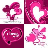 Walentynka dzień ustawiający serca Zdjęcia Stock